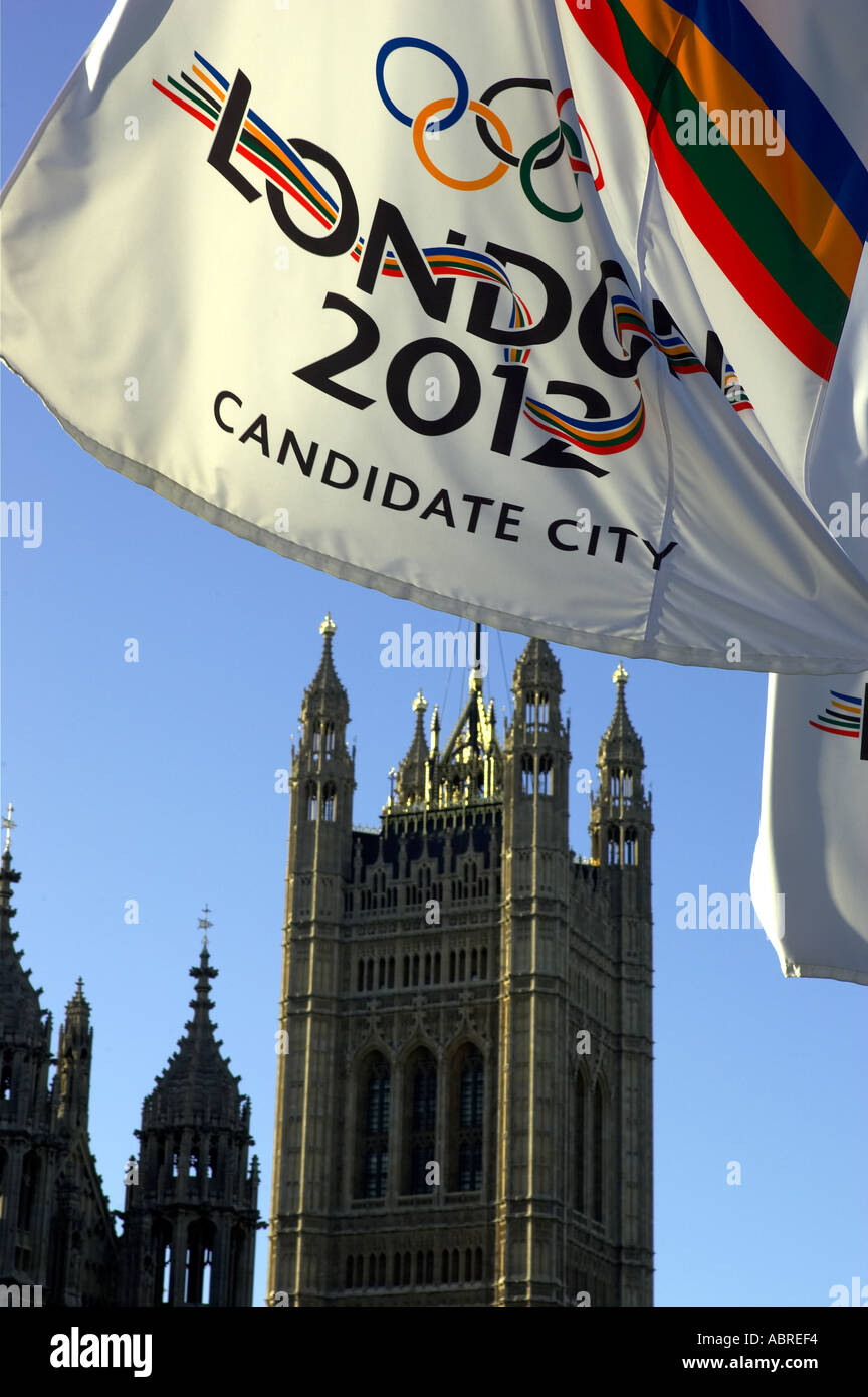 banner london 2012 olympic bid outside the houses of parliament london england uk - Stock Image
