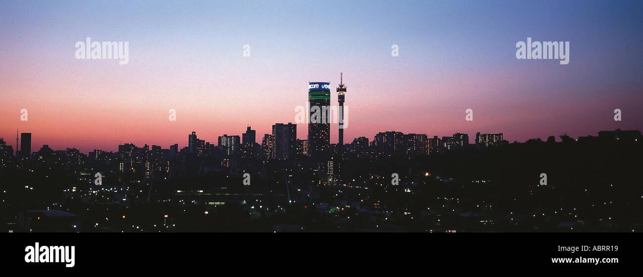 Johannesburg skyline with ponte tower and hillbrow tower at sunset johannesburg skyline with ponte tower and hillbrow tower at sunset johannesburg gauteng province south africa africa altavistaventures Images