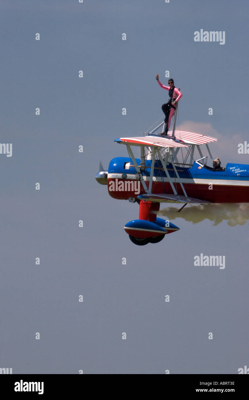 Wing Walker in Air Show - Stock Image
