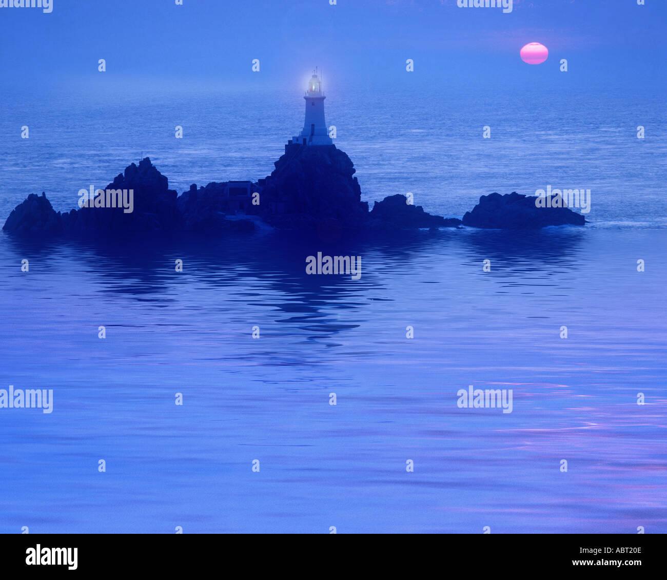 GB - JERSEY: La Corbiere Lighthouse Stock Photo