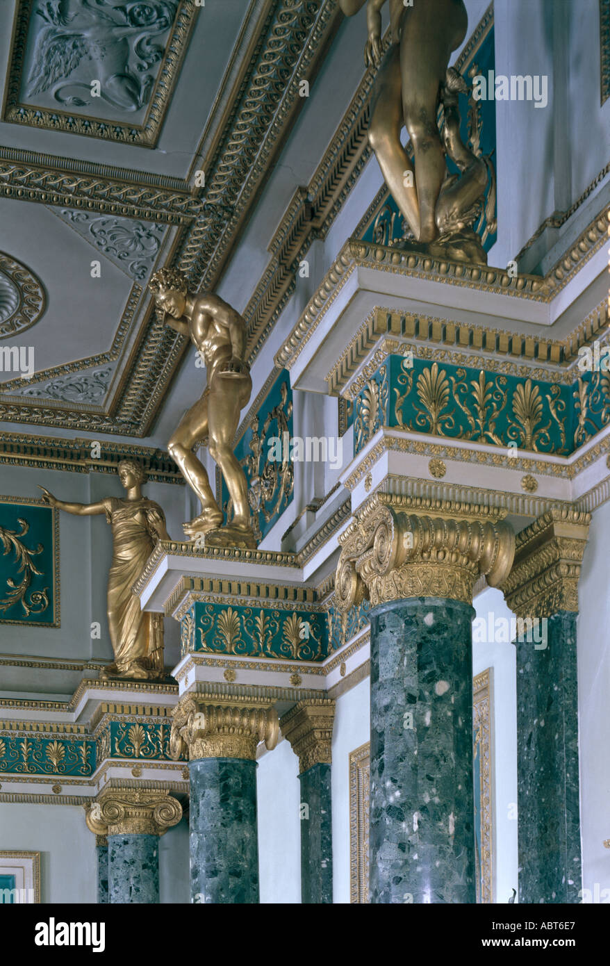 Syon House, Brentford, Middlesex, England, 1760-69. Detail in the Ante-room, also known as the Trophy Room. - Stock Image