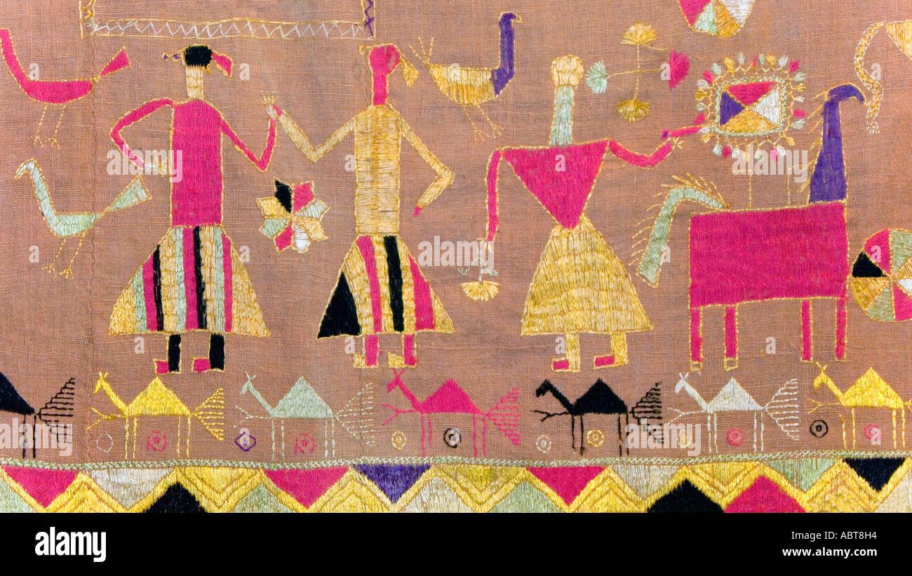 Detail of an embroidered Pulkhari textile from India Stock Photo