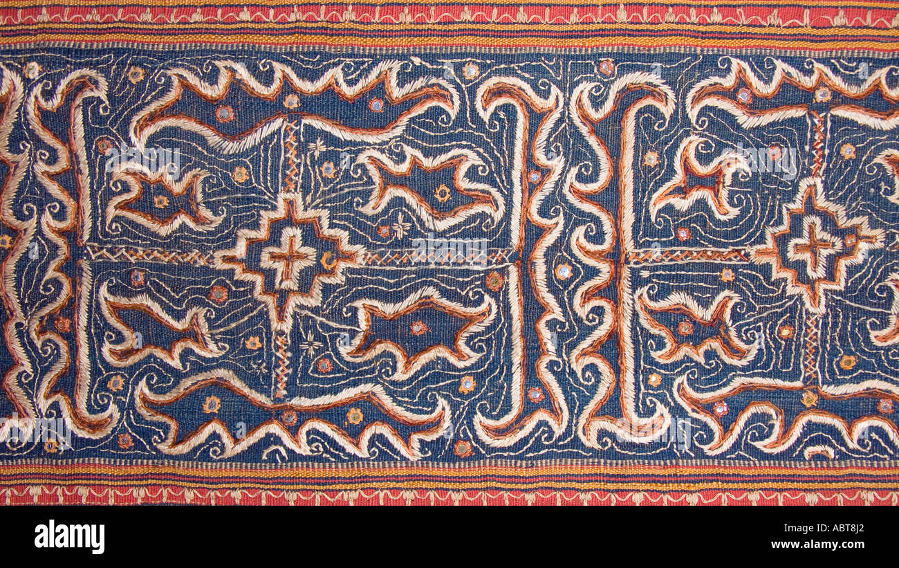 Detail of Tapis skirt from the Lampung region of Sumatra Indonesia Paminggir or Abung people Southeast Asia Stock Photo