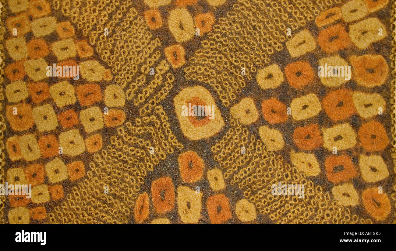 Tie dye Plangi textile on raffia Dida panel Ivory coast West Africa Stock Photo