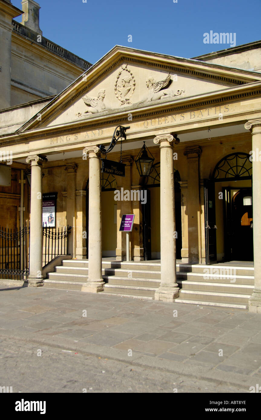 King and Queens bath entrance Roman Bath Spa Somerset England - Stock Image