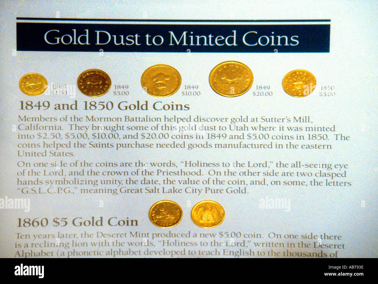 Salt Lake City Utah USA Museum Of Church History Art Gold Coins Members of Mormon Battalion Helped to Discover Gold At Sutters - Stock Image