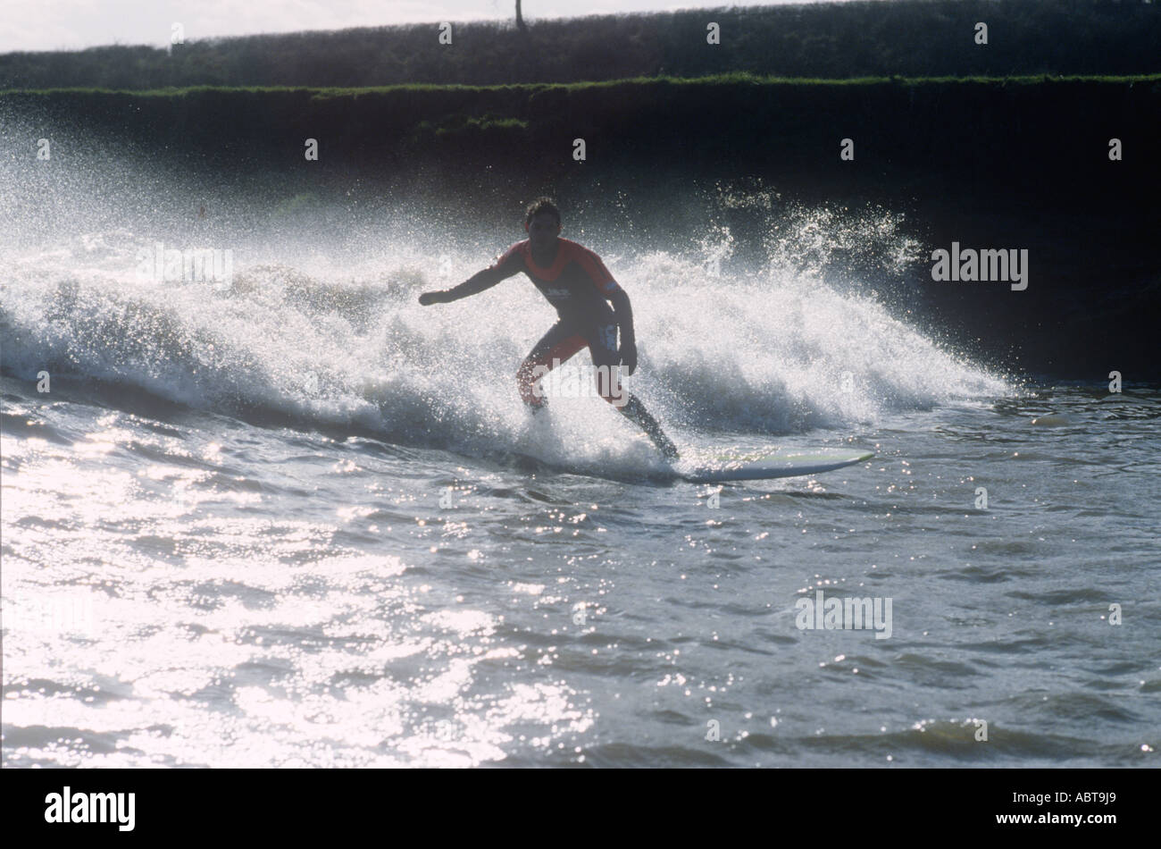 Surfing The Severn Bore Gloucestershire Stock Photo 7406312