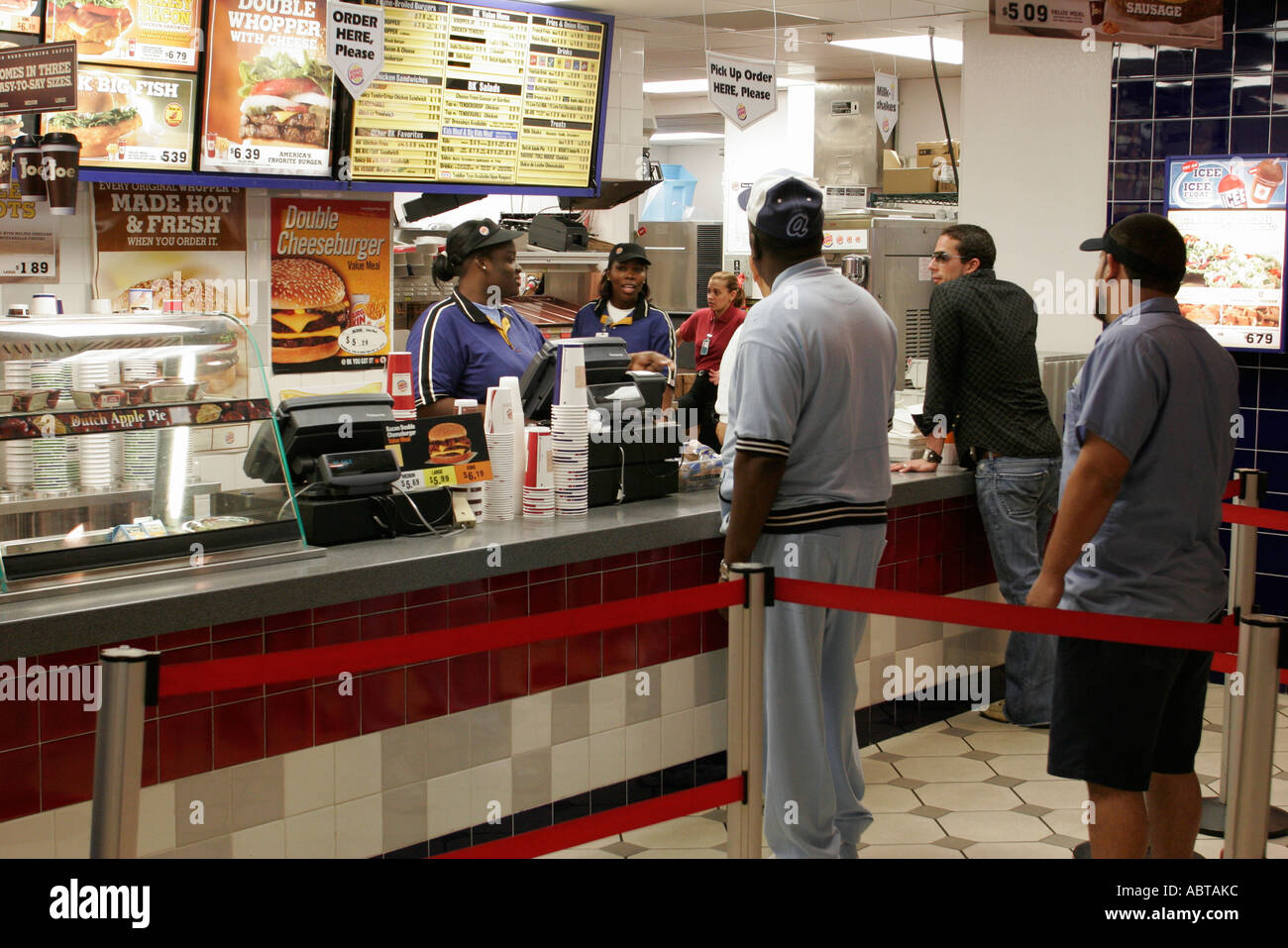 Miami Florida Airport Burger King Customers Counter Black