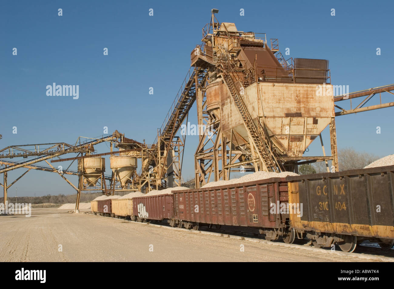 Loaded Rail Cars At Central Texas Crushed Stone Rock