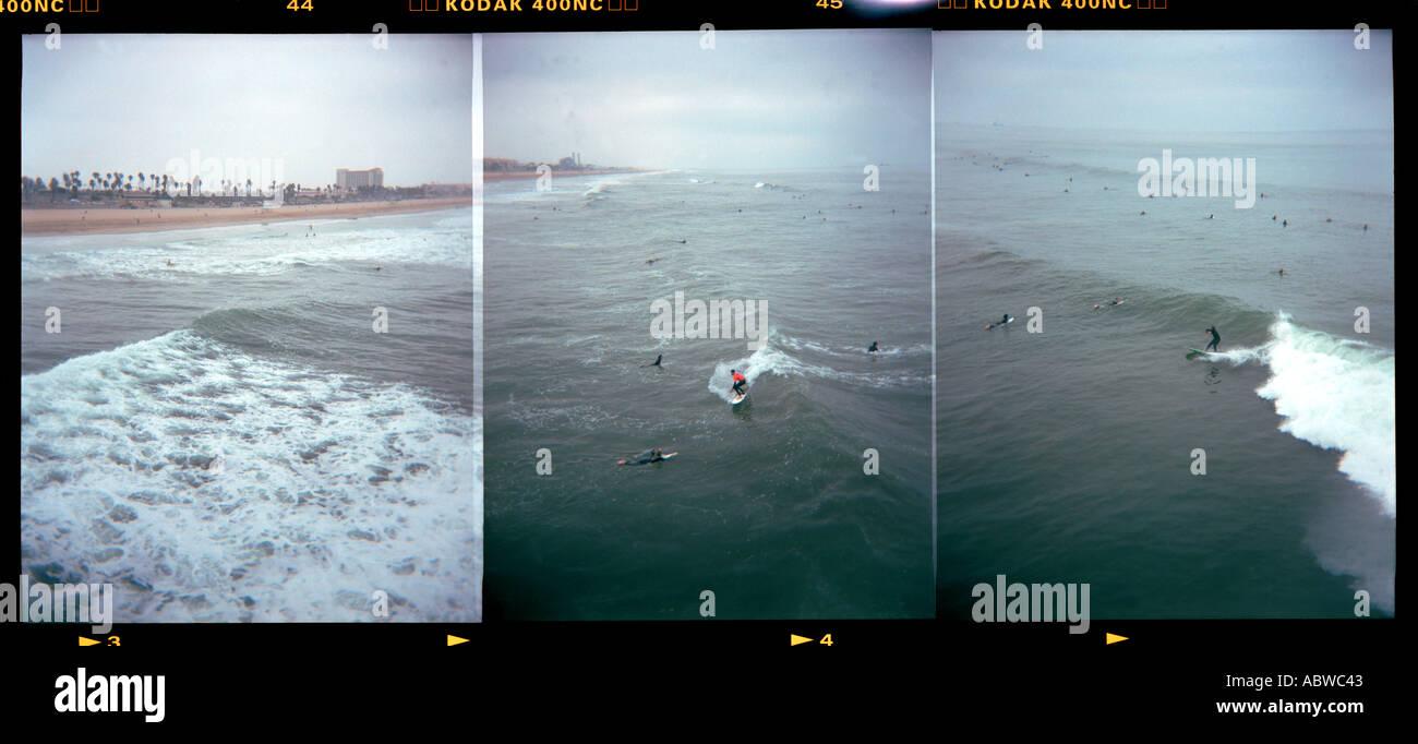 Surfers at Huntington Beach California - Stock Image