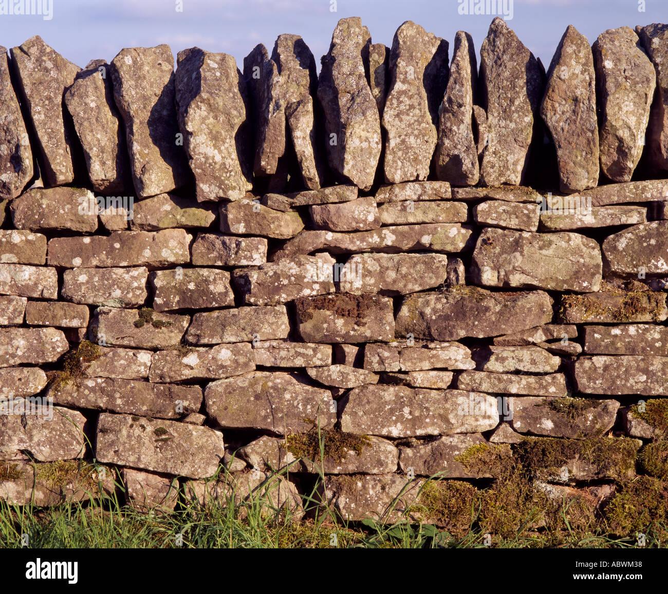 Drystone wall, called a dyke or drystane dyke in Scotland - Stock Image