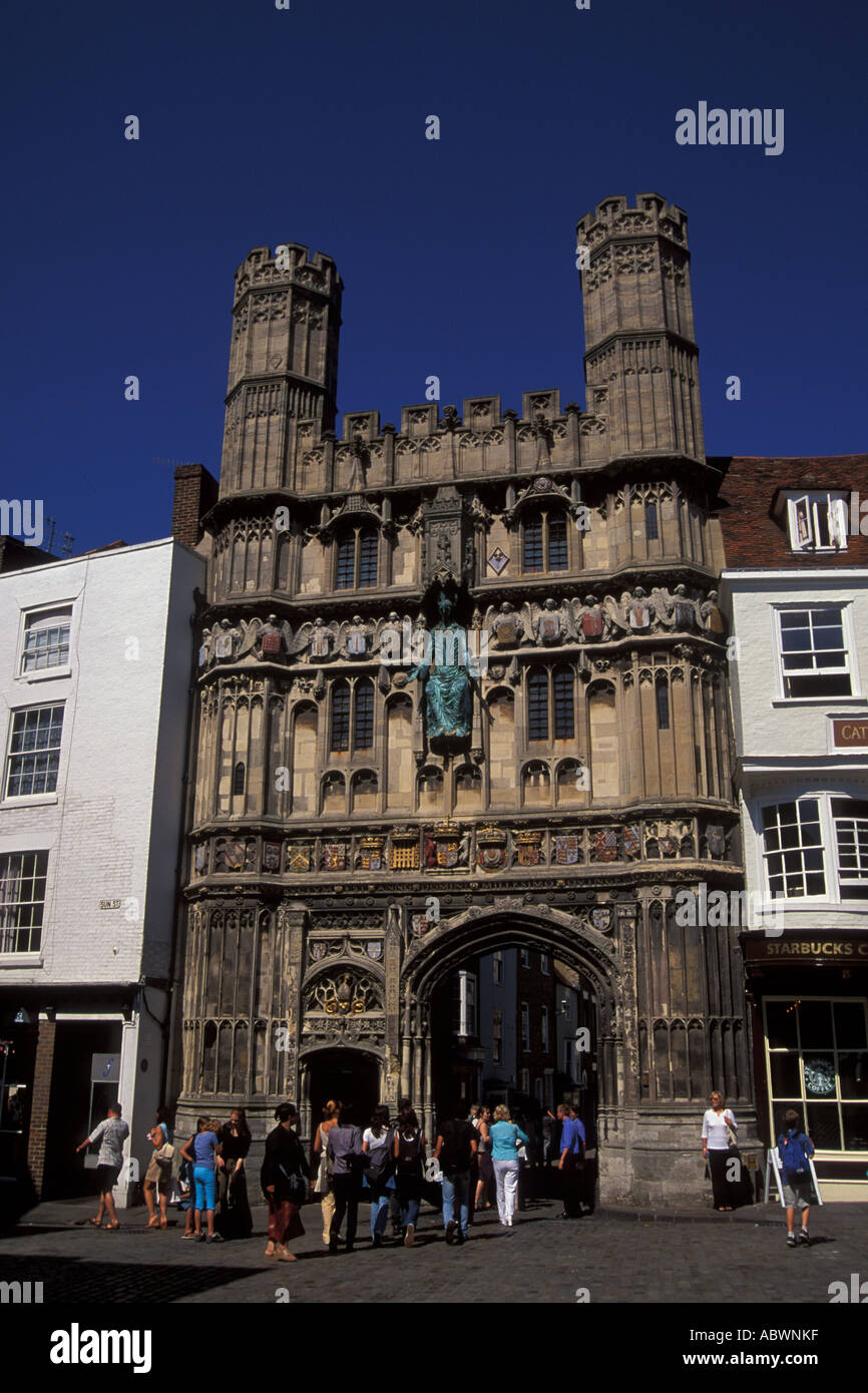 Christ church gateway entrance to Canterbury Cathedral Kent England UK - Stock Image