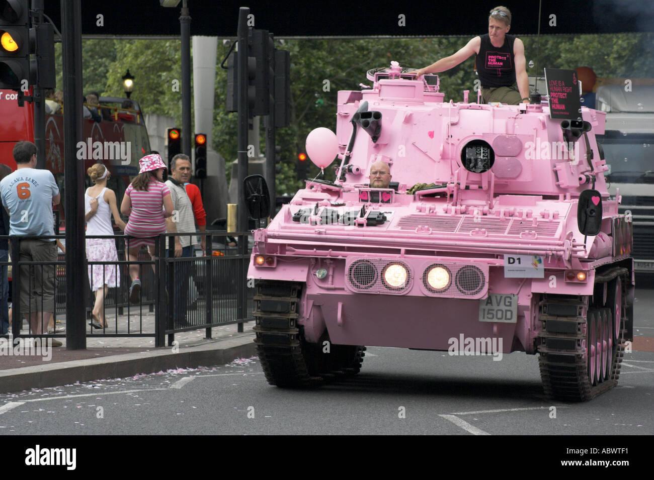 Pink Army Tank at the London Gay Pride Parade 2005 - Stock Image