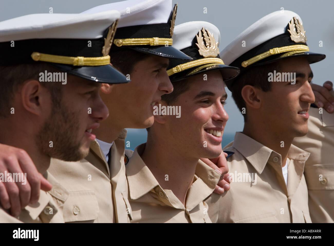 Stock Photo Closeup Portrait of Four Israeli Navy Cadets soldier soldiers four quad portrait comradeship affiliation - Stock Image