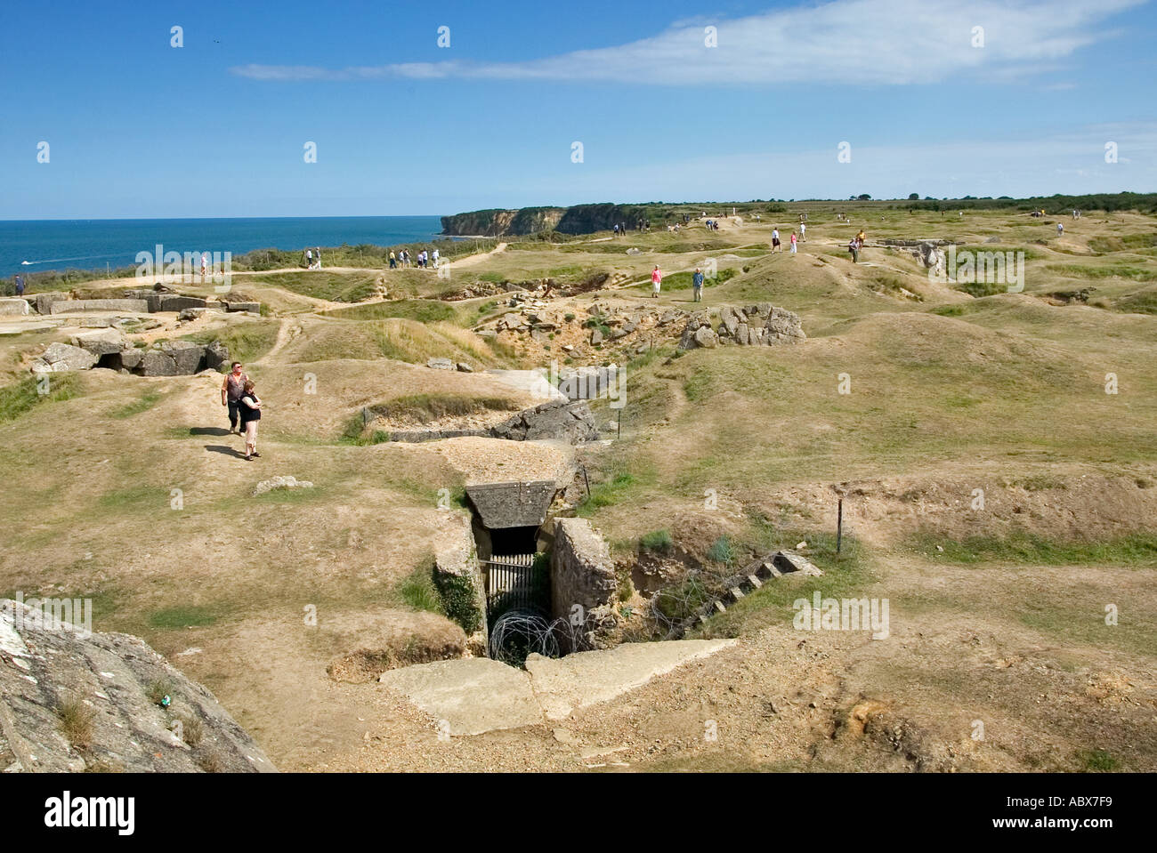 Battle scarred Pointe Du Hoc a fierce WW2 Battlefield on D-Day in Normandy France Europe - Stock Image