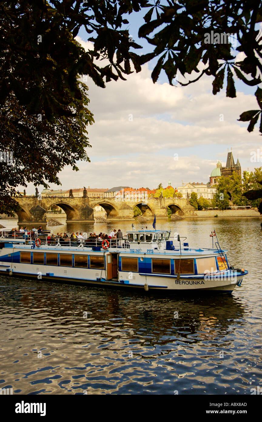 Czech Republic, Prague, Sightseeing boat on the River Vlatava Stock Photo