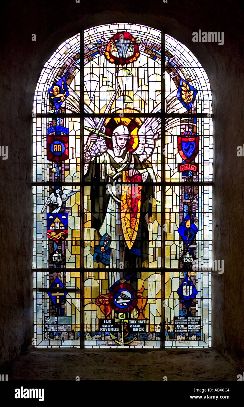 Stained glass window in the church to the 505th regiment 82nd Airborne Division, St Mere Eglise, France Europe Stock Photo