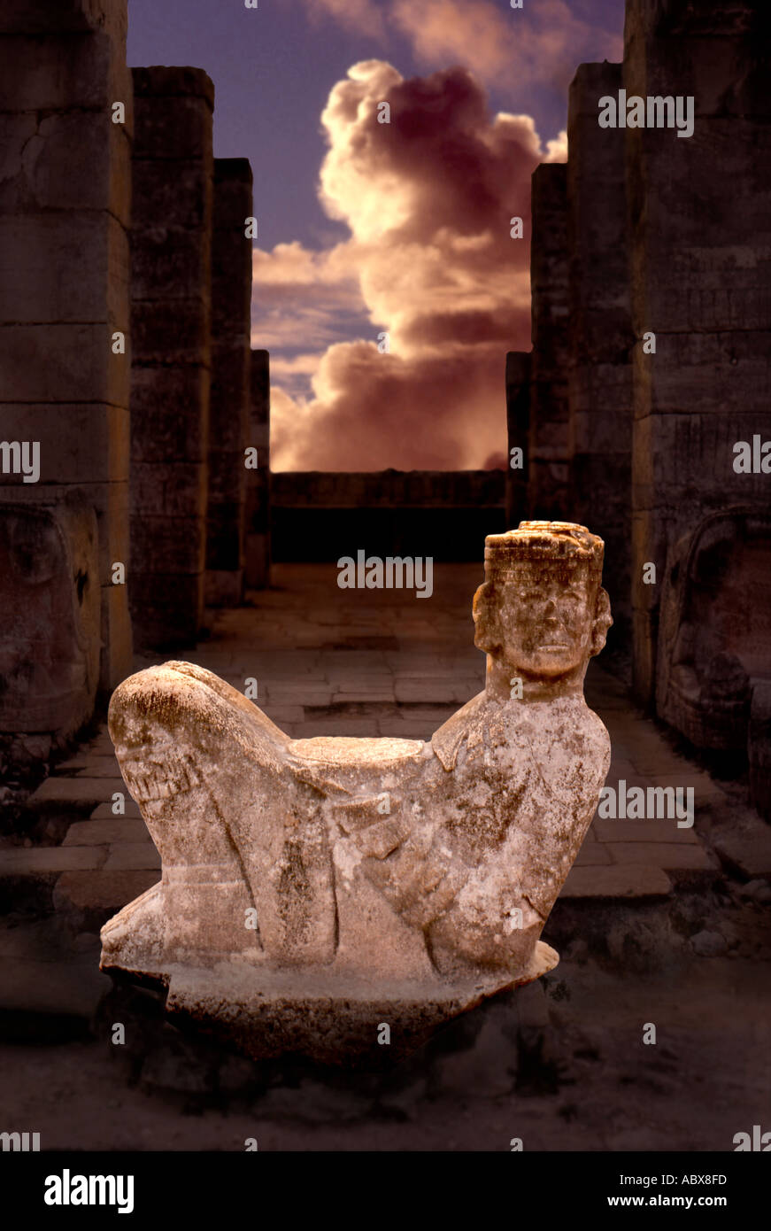 Mayan God Chac Mool, Chichén Itzá, Mexico - Stock Image