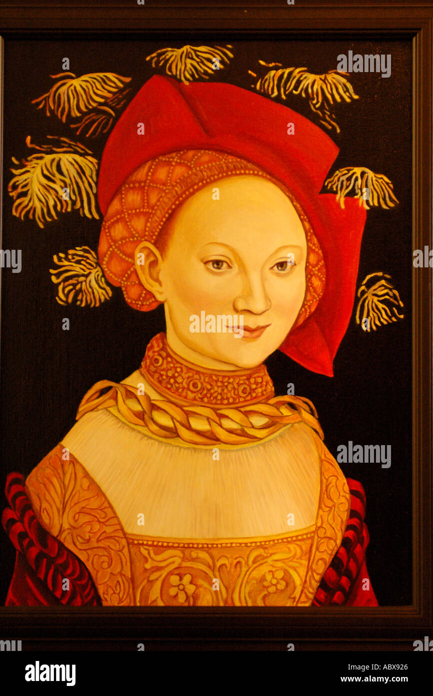 Art, Medieval portrait of woman - Stock Image