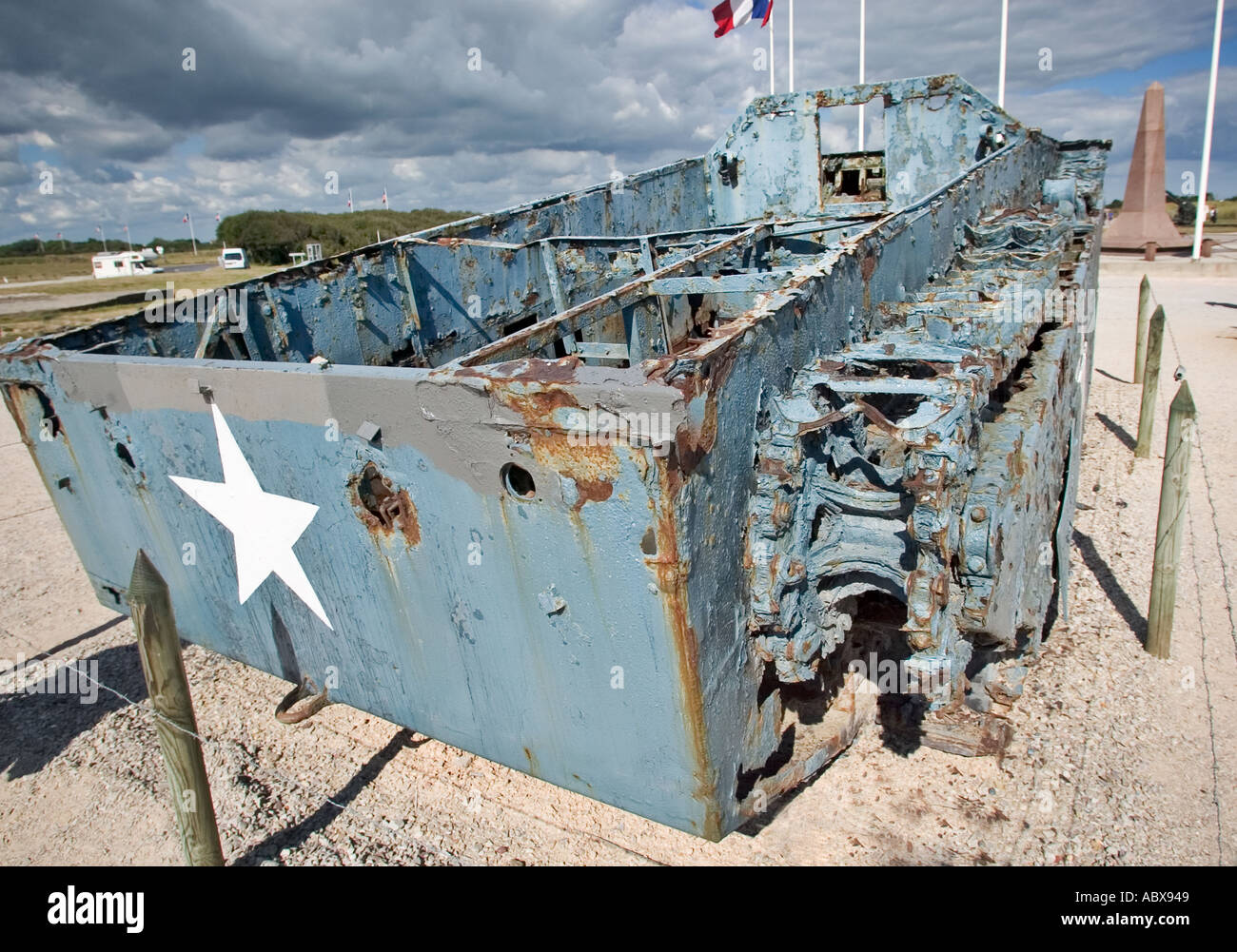 D Day Landing craft on Utah Beach, Normandy, France - Stock Image
