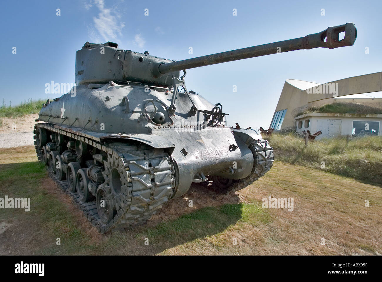 US Sherman Tank outside the D Day museum Utah Beach, Normandy, France - Stock Image