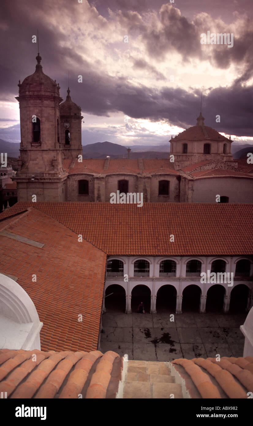 View from roof of Teatro Omiste looking W towards cathedral Potosi highest city of its size in the world Bolivia Stock Photo