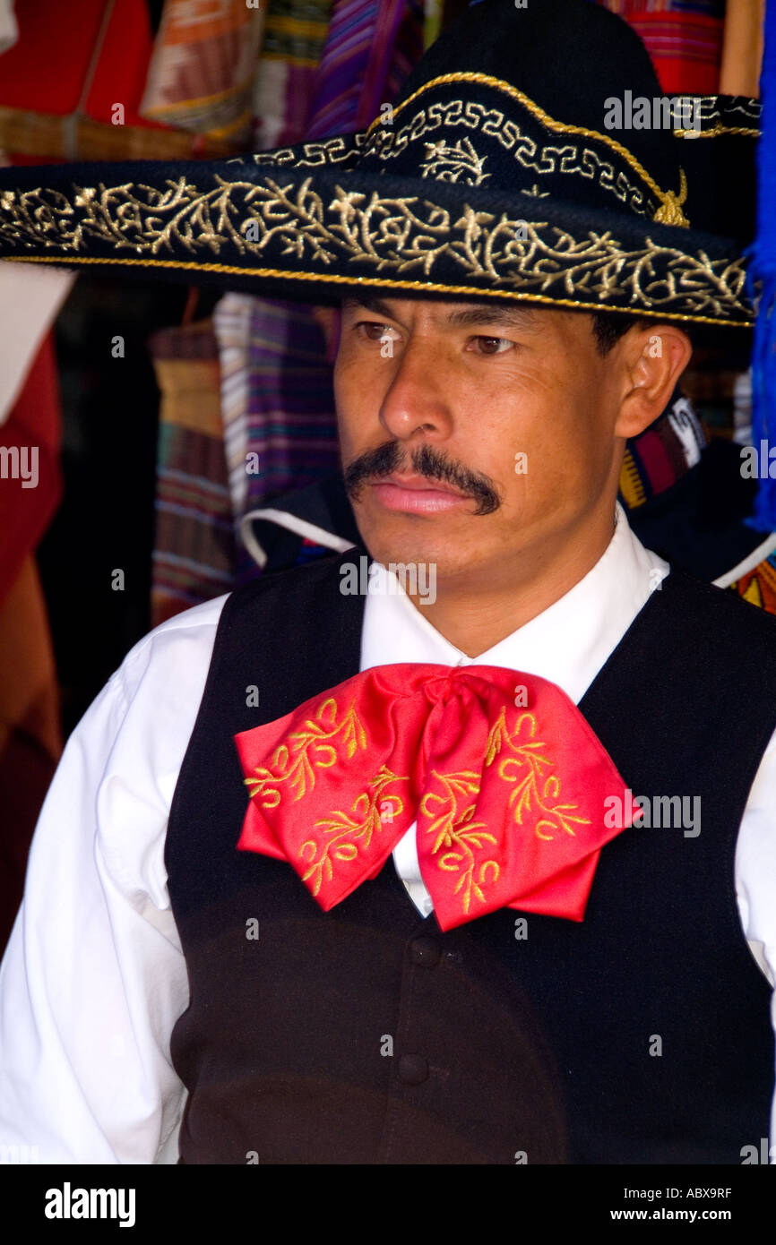 Mariachi Band member portrait with hat in traditional costume in Cancun Mexico - Stock Image