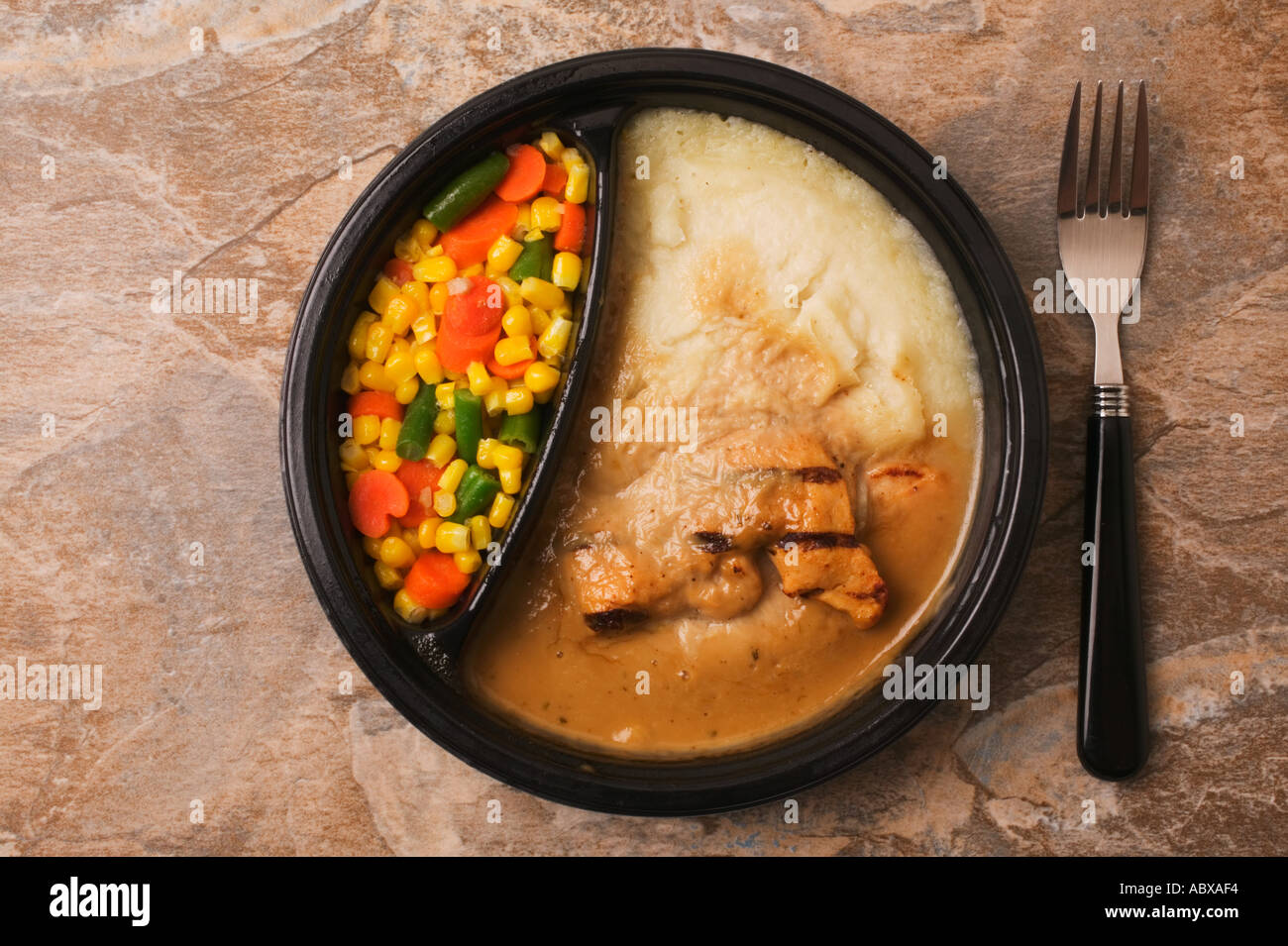 A round TV dinner - Stock Image