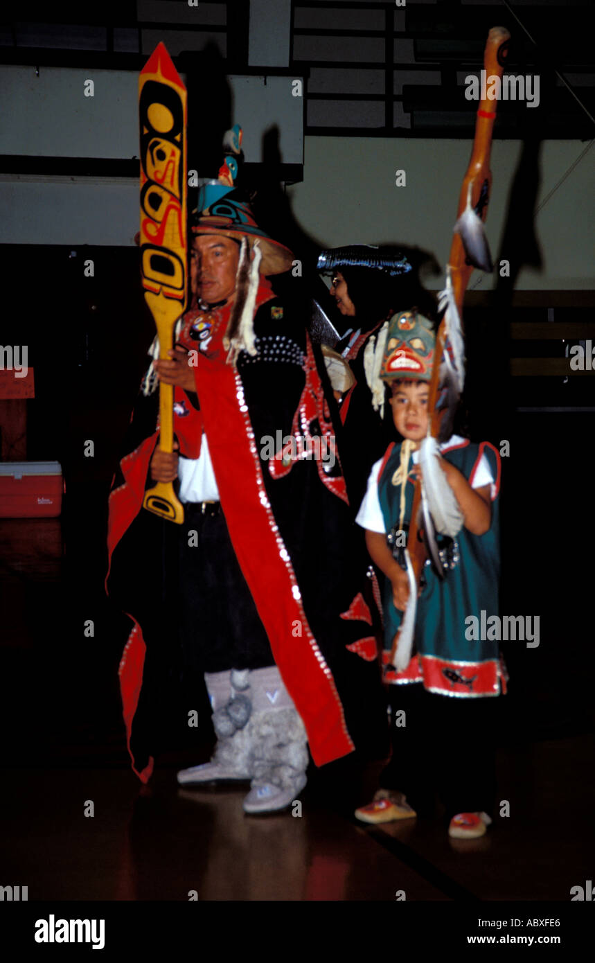 Singers and Dancers Kake Tlingit Indian village Alaska AK - Stock Image