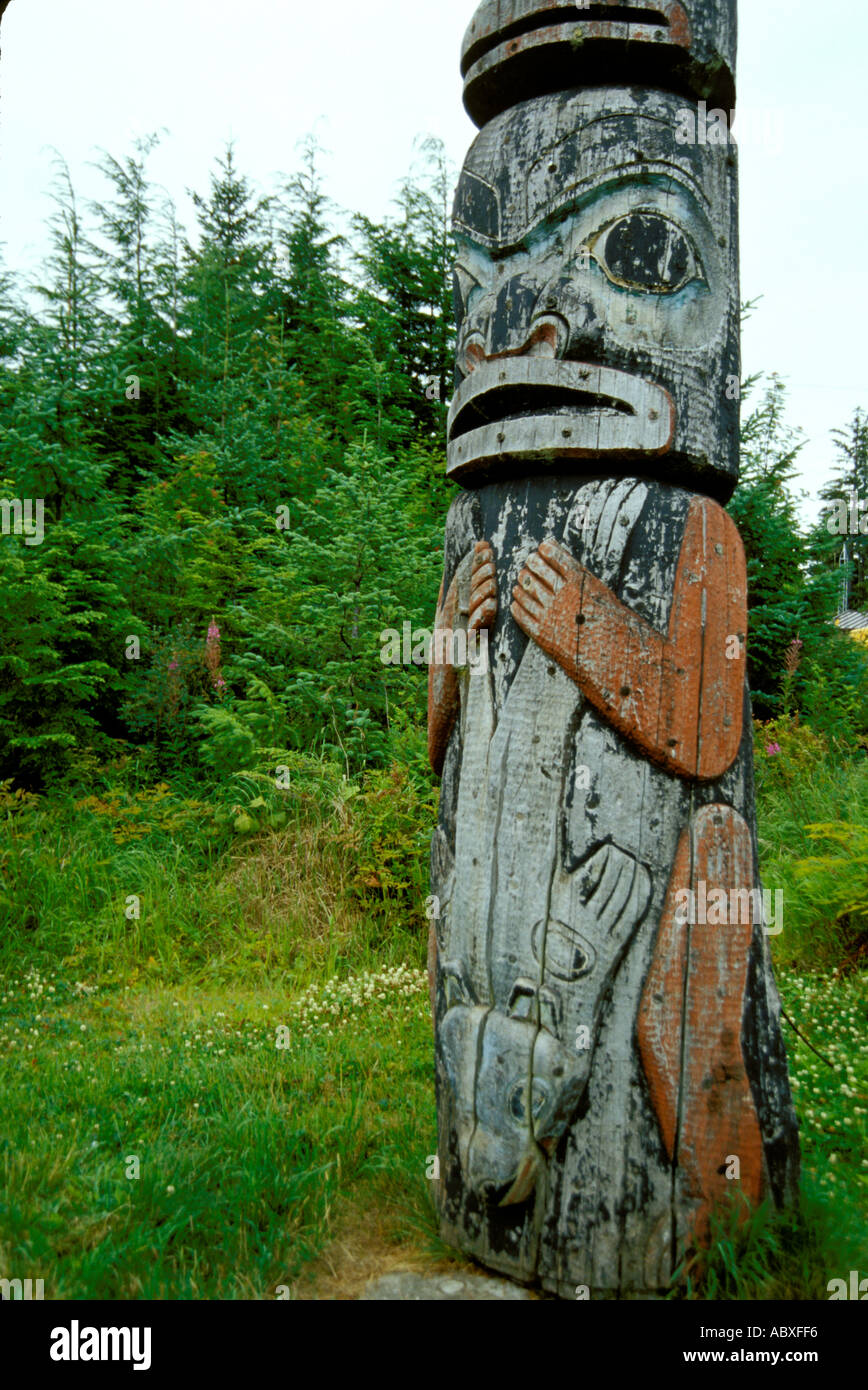 Totem pole Kake Tlingit Indian Village Alaska AK USA - Stock Image