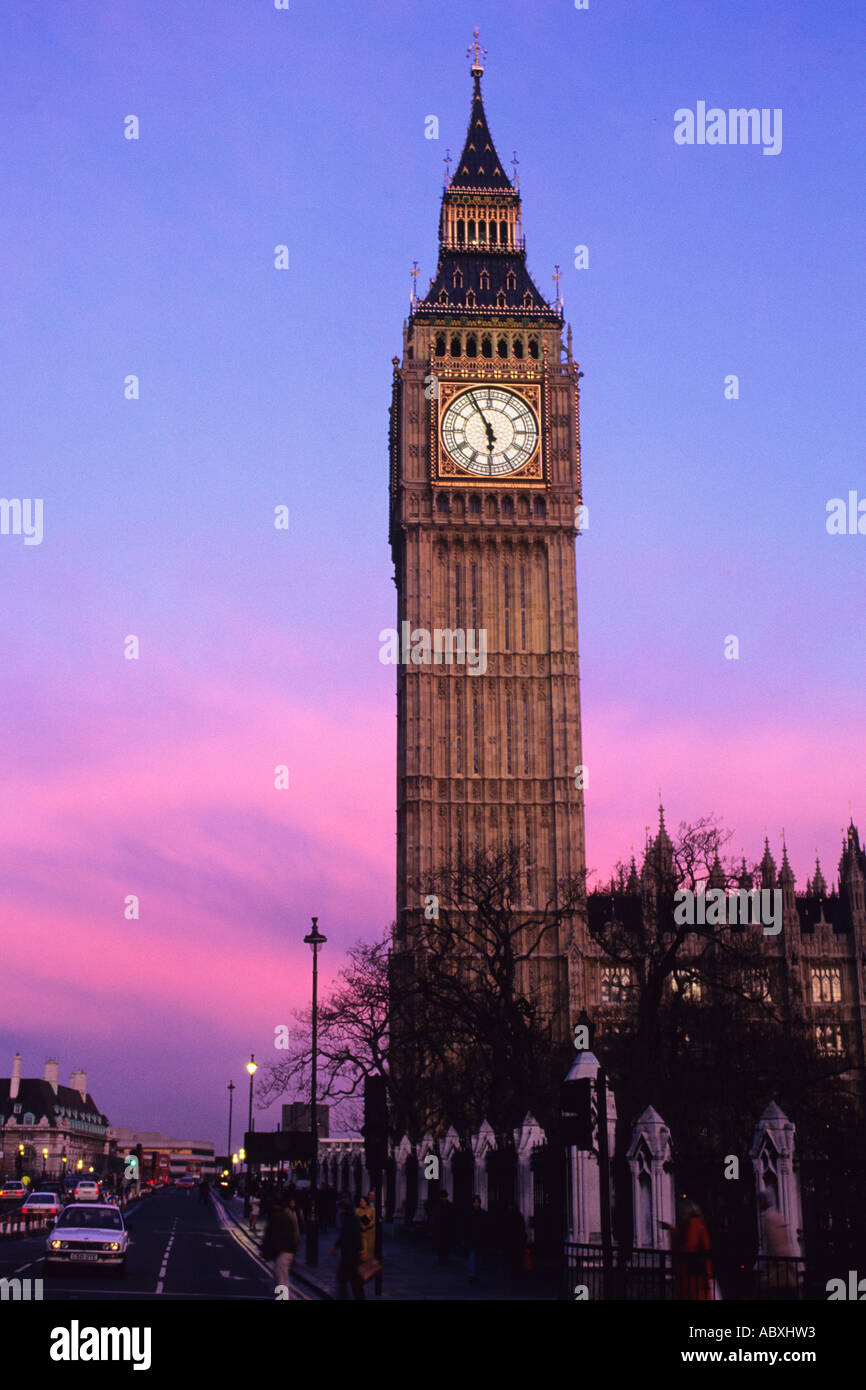 Europe UK England Great Britain United Kingdom London Parliament Square Big Ben at Sunset St Stephan's Tower - Stock Image