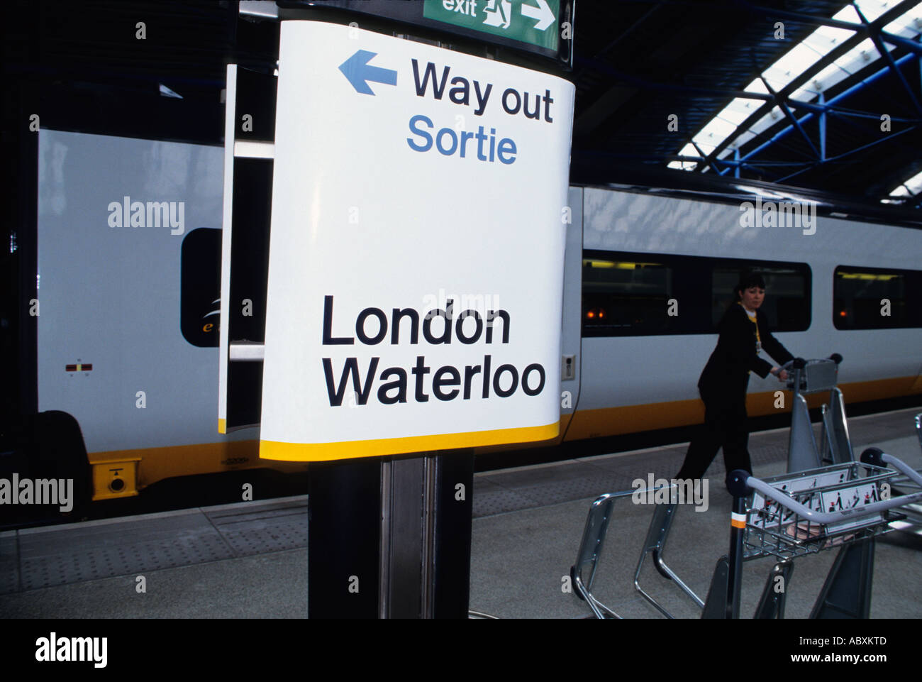 Europe England Great Britain United Kingdom UK London Waterloo Train Station Eurostar Train - Stock Image