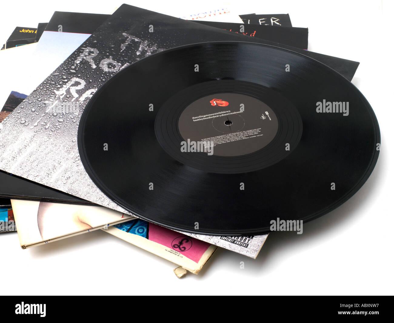 Pile of Vinyl Records - Stock Image