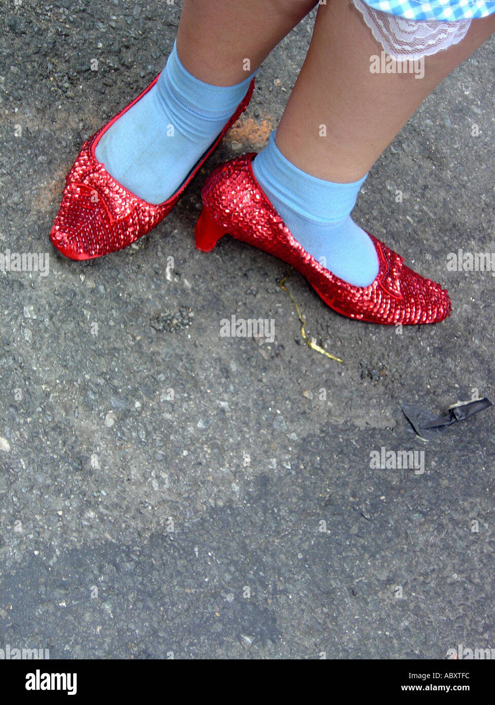 16a28f0579b Ruby Slippers on Feet of Person Ruby Slippers on Feet of Person Dressed as  Dorothy from Wizard of Oz at Gay Pride Parade 2005