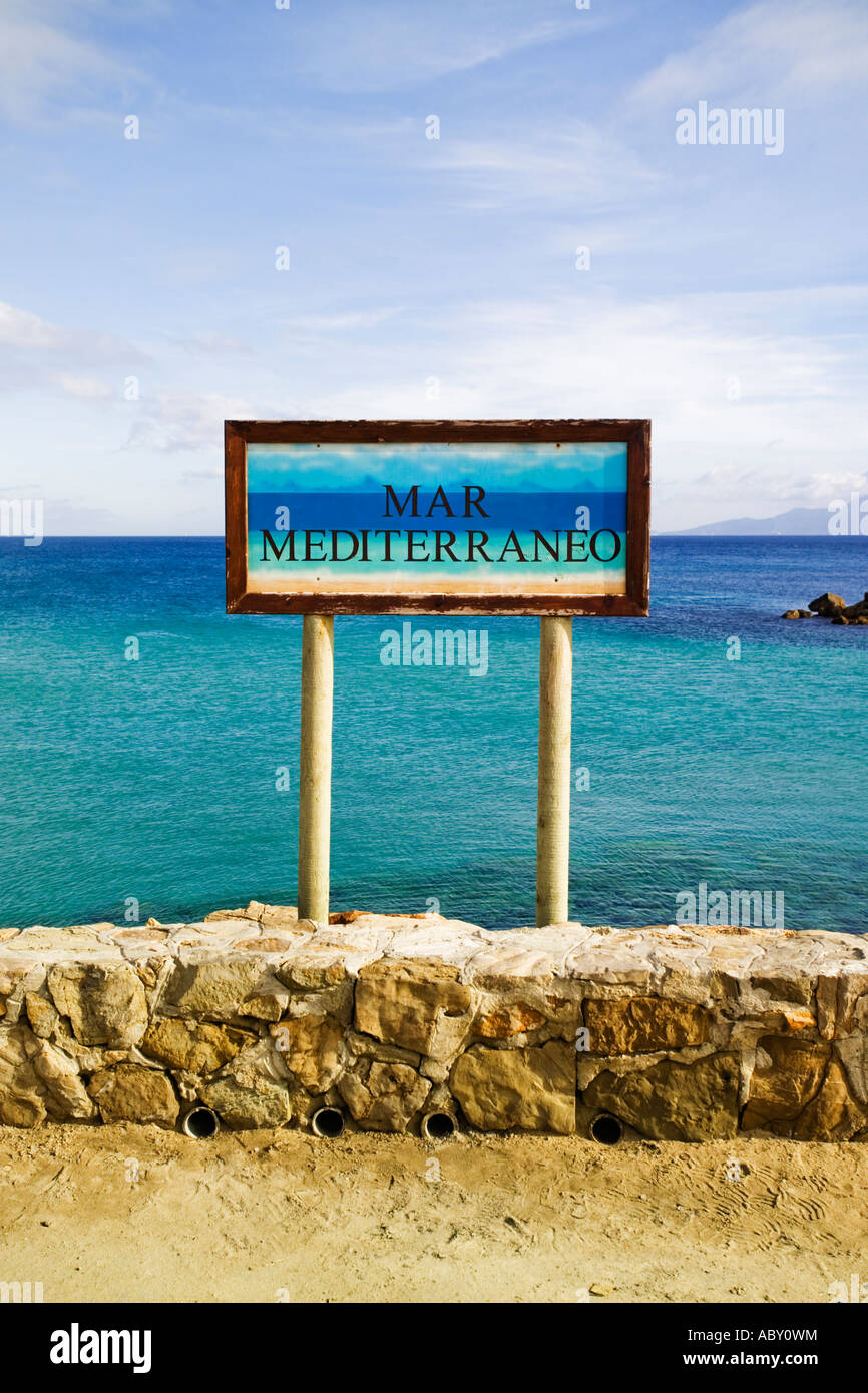 Mediterranean Sea sign at the end of the causeway in Tarifa Spain,  Mar mediterraneo sign - Stock Image