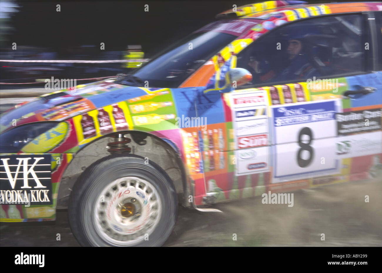 RSAC Scottish Rally close up of cornering car kicking up the dust - Stock Image