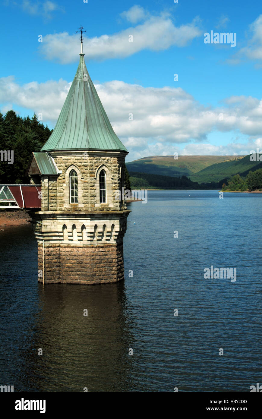 Draw off valve tower Welsh Waters Pontsticill Reservoir in the Brecon Beacons National Park & Fforest Fawr Geopark Stock Photo