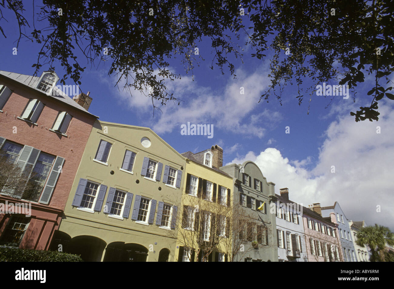 Charleston SC South Carolina Queen Street Townhouses National Register Historic  Places Tar Heel State Stock Photo