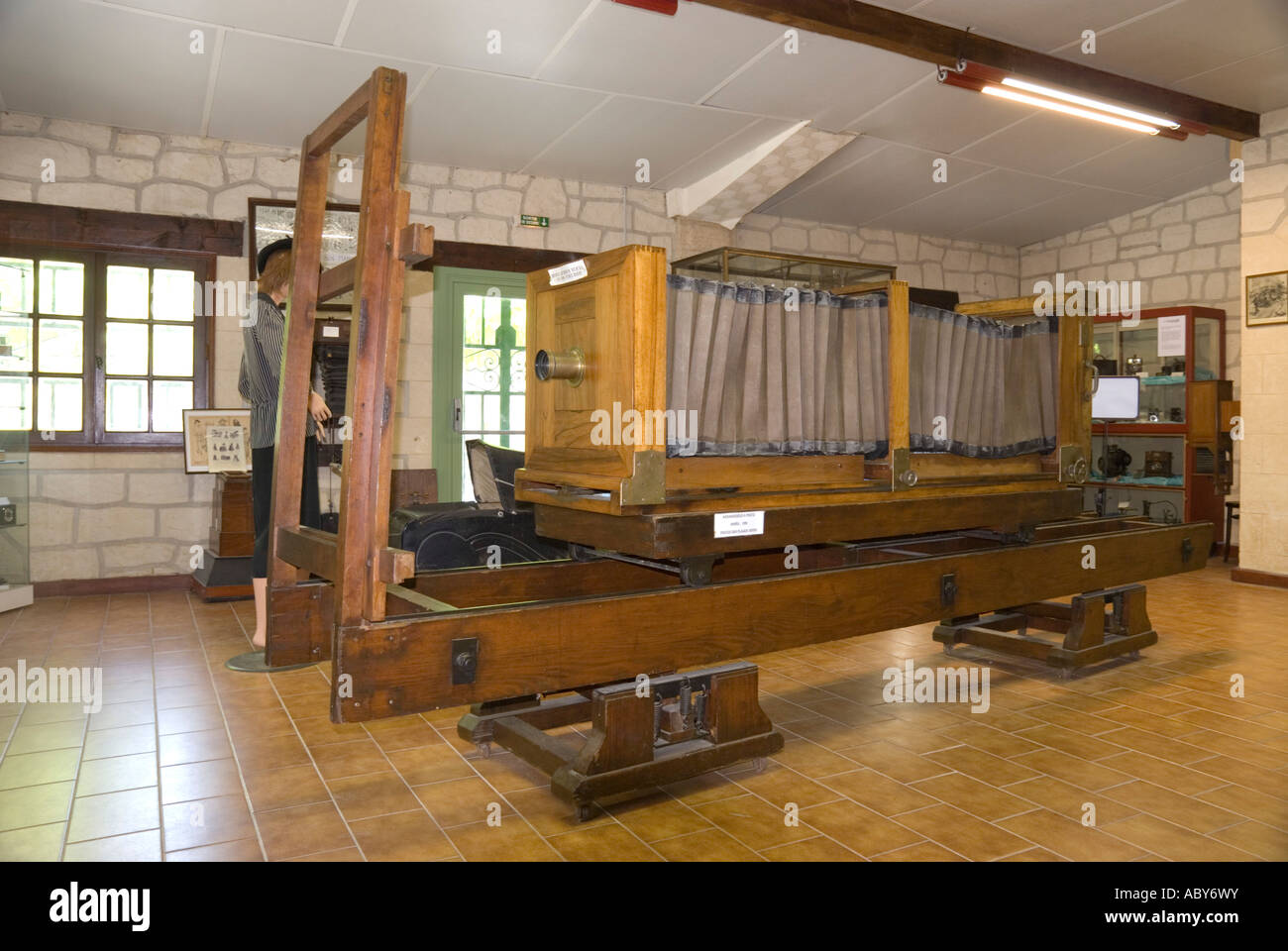 Museum of Technology near Uzes Gard France horizontal photographic enlarger or repro camera used for plate making - Stock Image