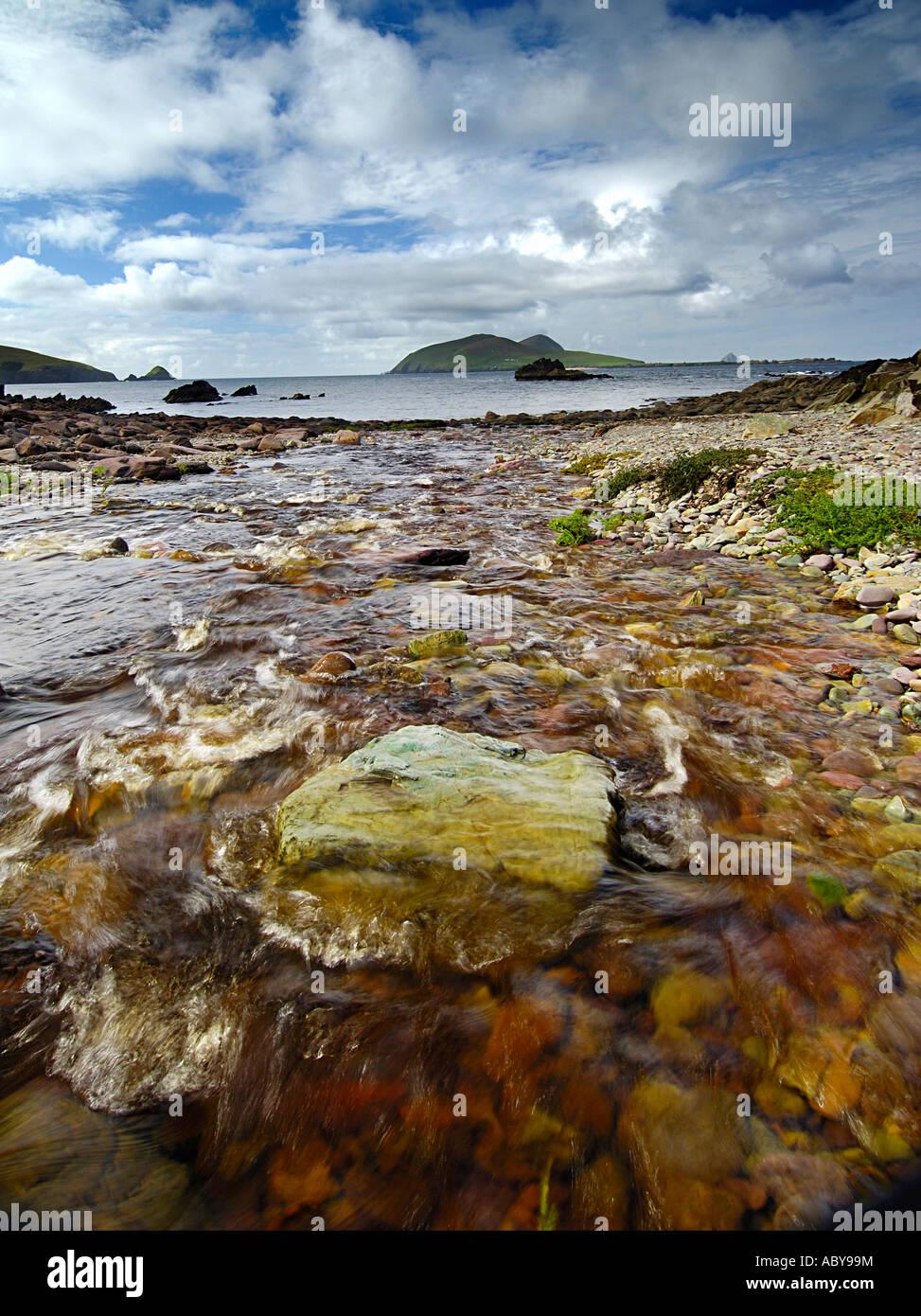 Looking towards Great Blasket Island from Dunquin Dingle Penninsula Co Kerry Ireland - Stock Image
