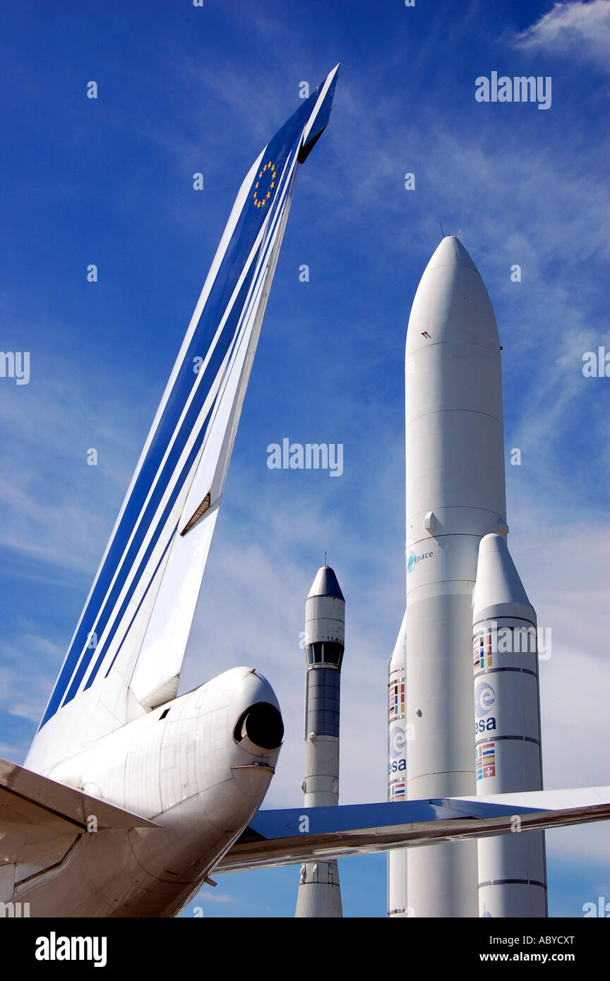 Ariane rockets and jet aircraft at the Paris Air Show, Le Bourget. Paris. - Stock Image