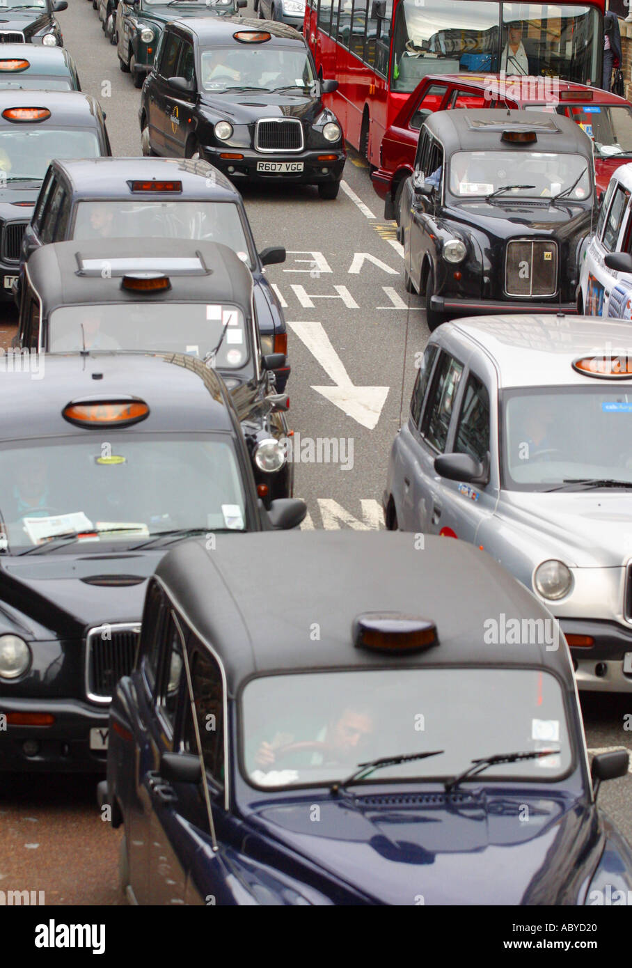 London traffic vehicle congestion traffic jam of London taxis and buses - Stock Image