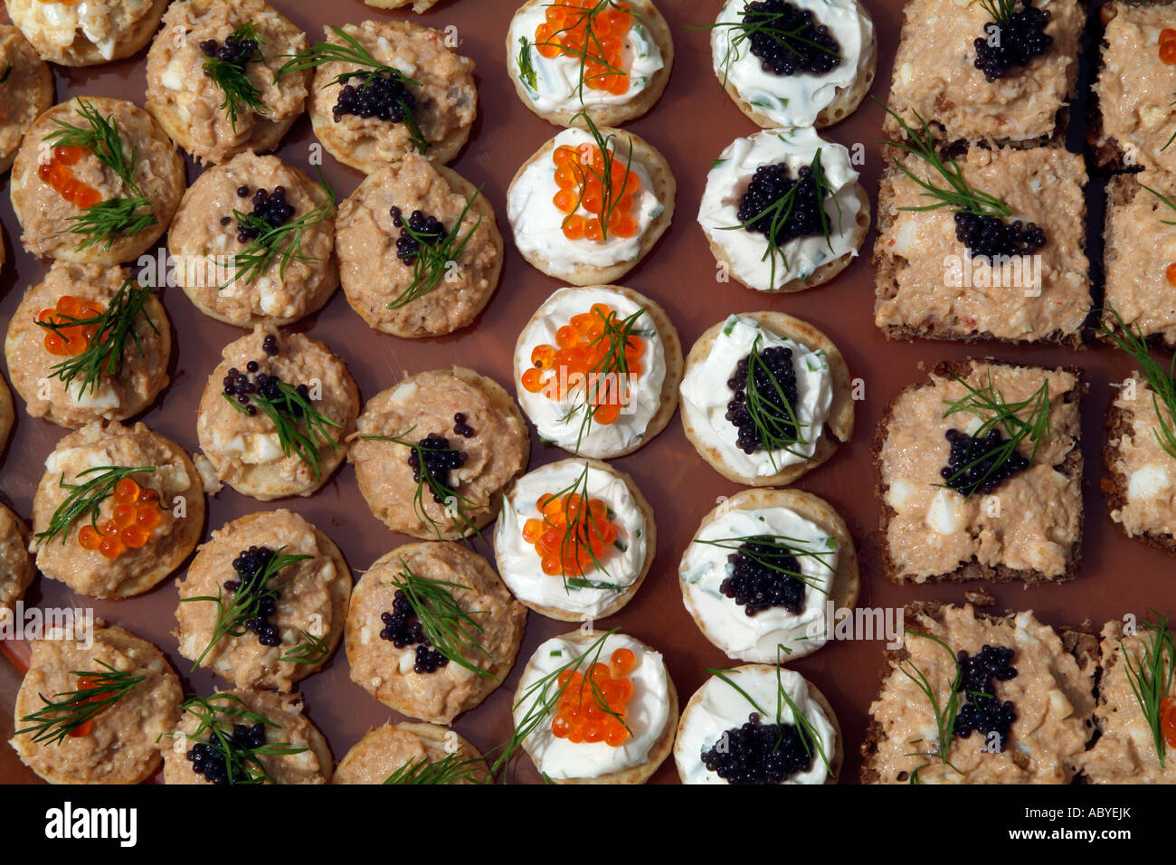 Canapes Party savoury food Finger buffet A selection of savoury canapes - Stock Image