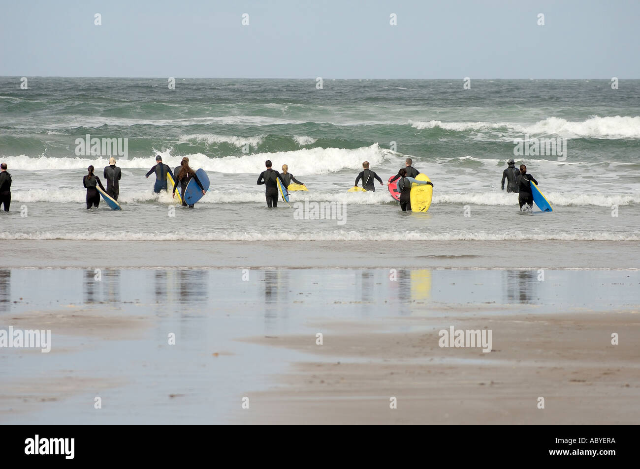 Surfing School at Sligo Ireland - Stock Image