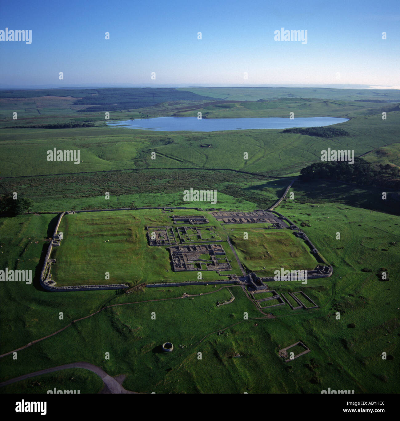 Housesteads Roman Fort on Hadrian s Wall Northumberland UK aerial view - Stock Image