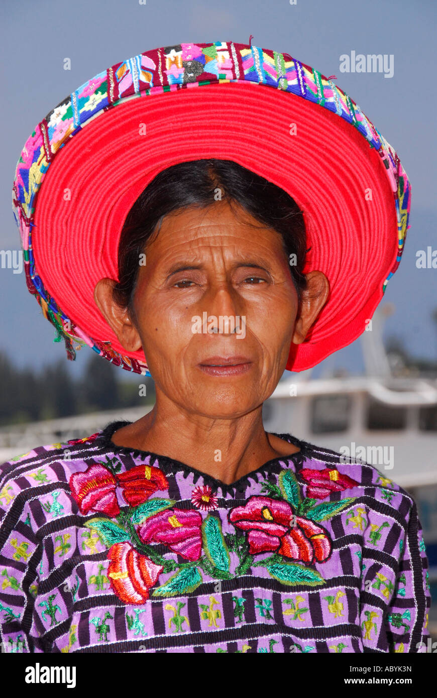 Indigenous Tzutujil woman, Santiago de Atitlan, Lake Atitlan, Guatemala, Central America - Stock Image