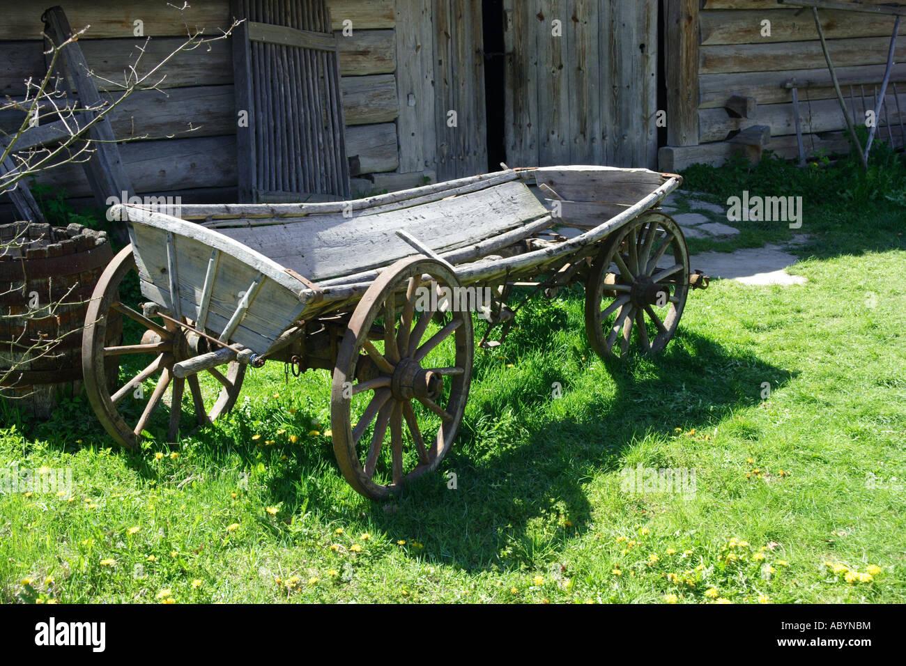 Wooden cart in Zagroda Guciow Poland Stock Photo
