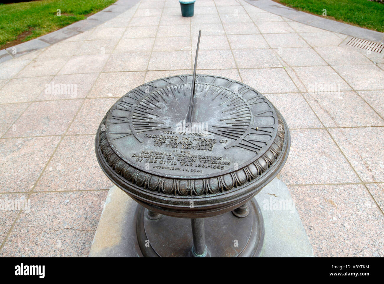 sundial on the grounds of the Ohio State Capitol at Columbus OH - Stock Image