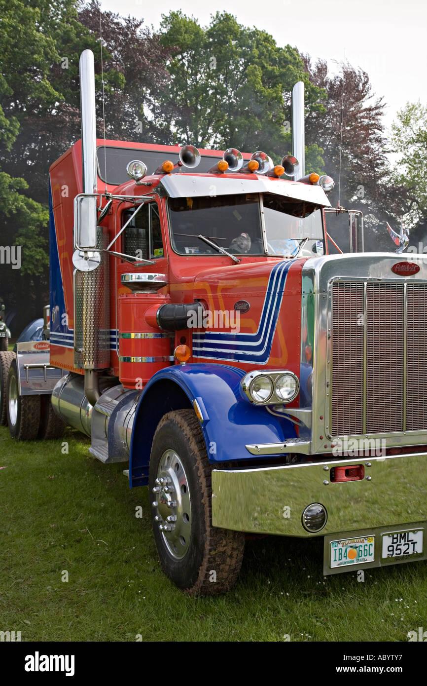 Livery colours on cab of Peterbilt lorry Abergavenny show Wales UK - Stock Image