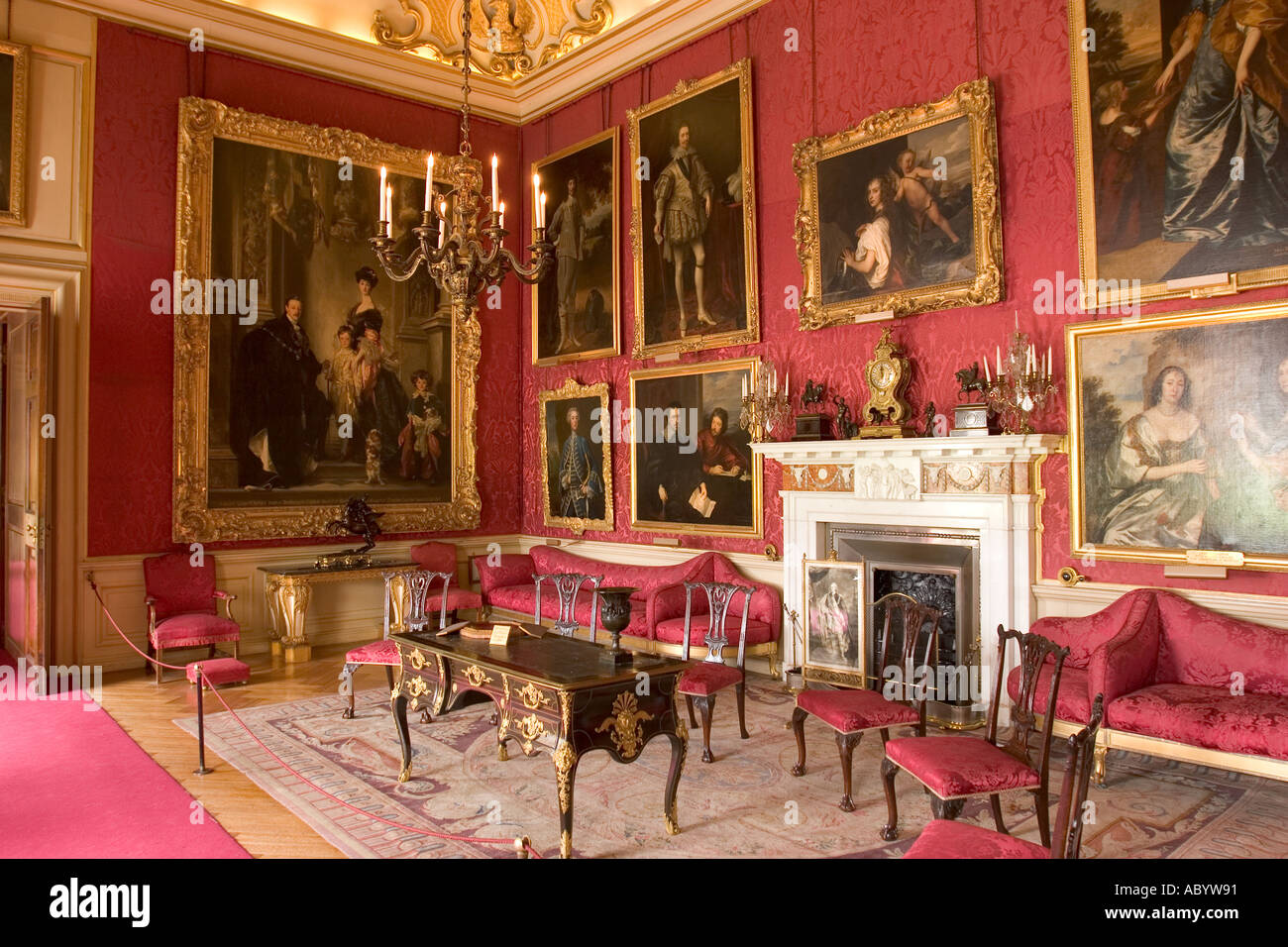 UK, England Oxfordshire Woodstock Blenheim Palace interior Red Drawing Room with Sargents portrait of 9th Duke - Stock Image